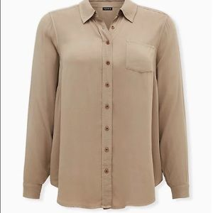 Torrid Taupe Washed Button Front Blouse